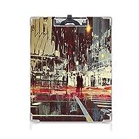 クリップボード A4サイズ対応 レンジップボード 人々 屋外スケッチポータブルスケッチクリップ (2個)ダウンタウンの劇的なイラスト赤青灰色と悲観的な夜に近代的な都市都市通り