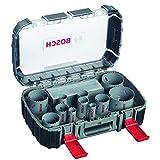 Bosch Professional 17pièces Coffret scie-cloche HSS bimétal pour adaptateur standard (pour le bois, le métal et le plastique, accessoires perceuse-visseuse)