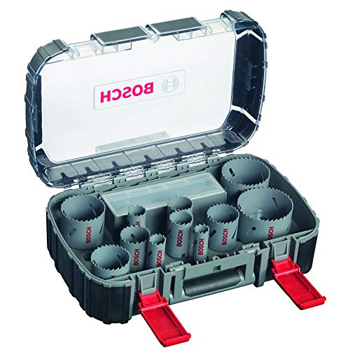 Bosch Professional 17-teiliges HSS Bimetall Lochsägen Set (für Metall, Aluminium, rostfreiem Edelstahl, Kunststoffen und Holz, Ø 20–74mm, Zubehör Bohrmaschine)