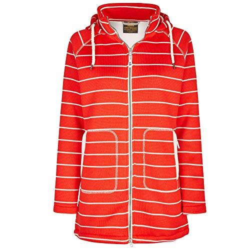 Michael Heinen - Chaqueta de entretiempo para mujer, larga, forro polar con capucha, impermeable, color rojo, talla M