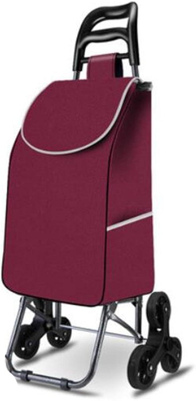 MOXIN Folding Shopping Cart, Stair Climbing Cart Grocery Utility Cart Wheel Bearings (6 Rounds), b
