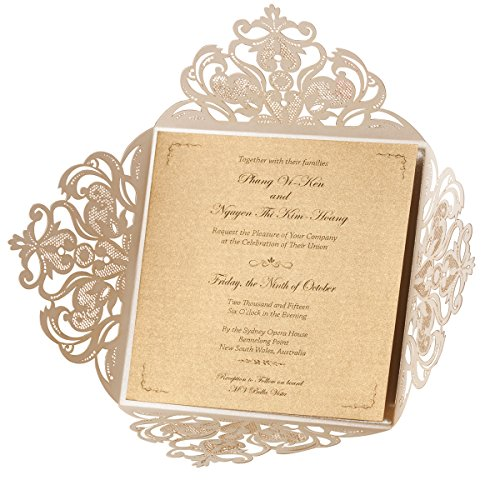 Wishmade Ivoire Laser Cut Cartes d'invitation de mariage 20pcs Avec Dentelle Fleurs Fiançailles Anniversaire Bridal Shower Bébé Douche Graduation Invitation Papier Cartonné (set of 20pcs)