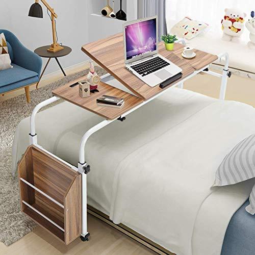 Greensen Bett Beistelltisch Pflegetisch Mobiler Computertisch Großer Schreibtisch Holz Laptoptisch Höhenverstellbar Bett Tabletttisch mit Rad und Gekippter Tischplatte für Bett Arbeit Büro Eiche
