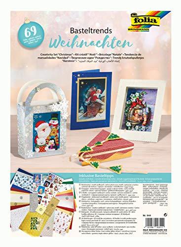 folia 944 - Weihnachtliche Basteltrends, 69 Teile - Kreativset für Kinder und Erwachsene mit verschiedenen Trendmaterialien
