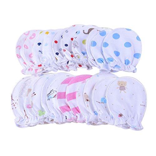 Packung mit 5 Paar neugeborene Baby-Fäustlinge Pastel Scratch Cotton Fäustlinge 0-6 Monate