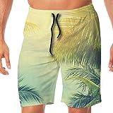 LiBei Shorts de Playa de Secado rápido para Hombre Cintura elástica Bañador Bañador Palmeras contra el Cielo Azul, Palmeras en la Costa Tropical, Tonos Vintage y estilizados XXL