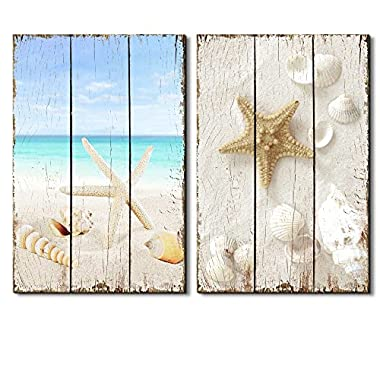 wall26 Relaxing Photo of a Beach Scene Paired With Sea Life on the Sand Placed on a Wooden Background - Canvas Art Home Decor - 16x24 inches