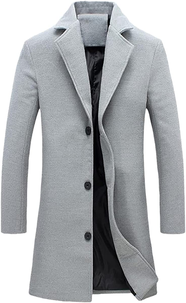 Fashion Men Winter Solid Color Long Woolen Coat Single Breasted Jacket Overcoat