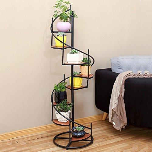 KK-Amerikanischer Eisen Retro Weinlese-Fußboden-mehrschichtiger Balkon-Wohnzimmer-Leiter-drehender Blumentopf-Blumentopf Farbe: Schwarzes