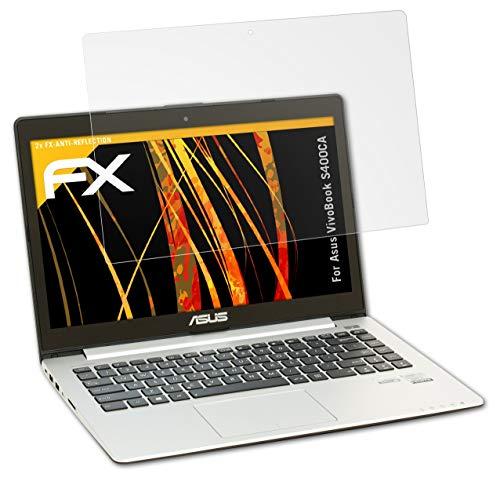 atFolix Panzerfolie kompatibel mit Asus VivoBook S400CA Schutzfolie, entspiegelnde & stoßdämpfende FX Folie (2X)