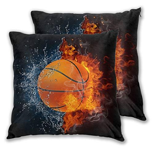 Juego de 2 fundas de almohada decorativas para sofá, sofá, cama y coche, diseño de baloncesto en fuego y agua