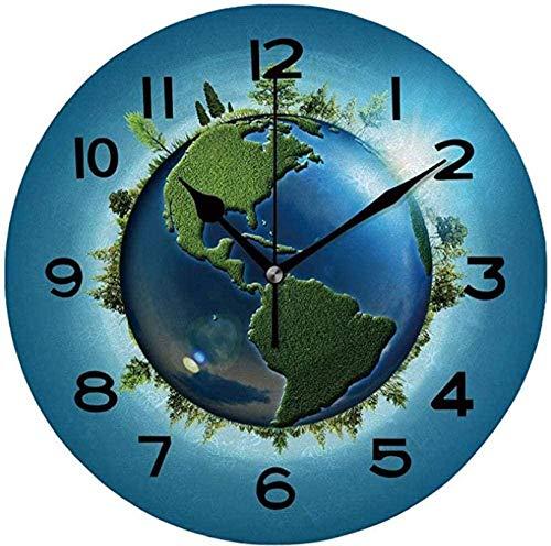 tuobaysj Reloj De Pared Reloj De Pared Silencioso Operado Fácilmente Legible Reloj De Pared Redondo Ecos con Globo Terráqueo Y Bosque