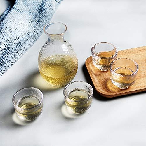 KCCCC Copa de Sake Tradicional Sake Sake japonés Conjunto de los vidrios de Cristal Vajilla Shochu Claro Diseño Flotante único Copas de Vino de artesanía (Color : Clear, Size : 1 Set)