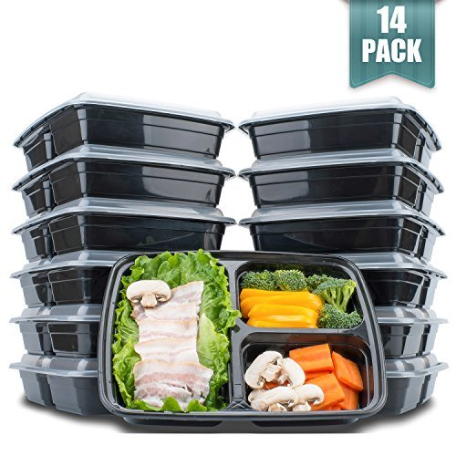 3 Compartment Meal Prep Food Storage Containers With Lids,38oz BPA Free Stackable & Divided Lunch Containers,Thicker Than Other Bento Boxes, Microwave/Dishwasher/Freezer Safe,14 Pack by Langdeng