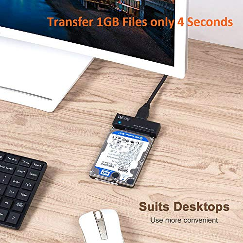 WEme USB 3.0 to SATA Converter Adapter for 2.5 3.5 Inch Hard Drive Disk SSD HDD, Power Adapter and USB 3.0 Cable Included