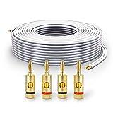 PureLink Cable de Altavoz SP061-010 2x2,5 mm² (99,9% OFC de Cobre Completo, Cable Trenzado de 0,20 mm) Cable de Altavoz de Alta fidelidad, 10 m, Blanco, Juego Que Incluye 4 enchufes Banana