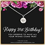 21st Birthday Gift • Diamond CZ Pendant • 925 Sterling Silver • Starburst Charm • Compass North Star • Celestial Jewelry • Milestone Celebration • 21 Years Old • Simple Dainty Everyday Necklace