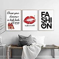北欧のポスターファッションインスピレーションを与える引用ハイヒール赤い唇プリント壁アートキャンバス絵画リビングルームの装飾のための壁の写真50x70cmフレームなし