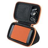 co2crea Hard Travel Case for OontZ Angle 3 3rd Gen Cambridge Soundworks Bluetooth Portable Speaker (Black Case + Orange Zipper)