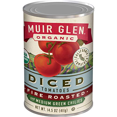 Muir Glen, Organic Diced Tomatoes, Fire Roasted with Medium Green Chilies, 14.5 oz
