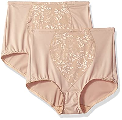 Bali Women's Shapewear Tummy Panel Brief Firm Control 2-Pack, Nude Jacquard, 2X Large