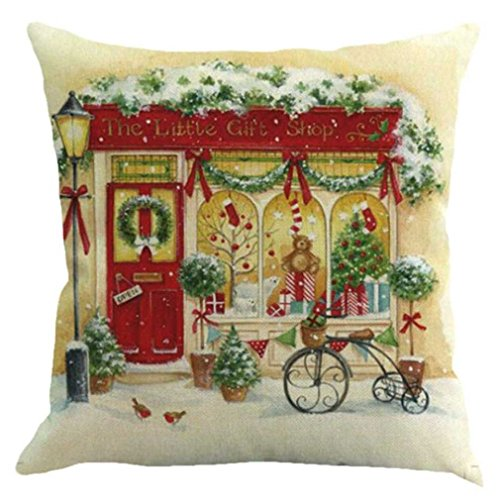 federe Cuscini,Fittingran Federa di Natale Stampata Federa di Buon Natale Custodia in Lino Cuscino per Divano Home Decor Multicolor Federa (B)