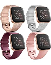 Tobfit for Fitbit Versa Band/Fitbit Versa Lite Bands, Sport Wristband Small Large Classic TPU Replacement Watch Band for Fitbit Versa & Fitbit Versa Lite & Versa SE & Versa 2 Smart Watch (#H 4 PCS Wine Red+Rose Gold+Gray+White, Small)