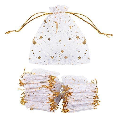 MEJOSER 100 Bolsas de Organza Bolsitas Tul con Estrellas y Lunas Saquitos Arroz Regalo Joyas Caramelo Dulces Recuerdo Favores Detalles para Navidad Boda Fiesta Bautizo con Cintas Blanco Dorado