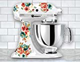 Red, Cream, Turquoise Watercolor Floral Vinyl Decals for Kitchen Mixers, Flower Mixer Stickers, Fits Most Kitchen Aid and Other Brand Stand Mixers