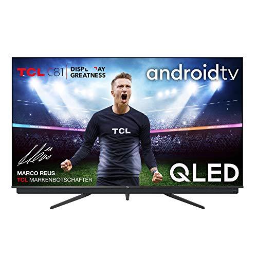 TCL 55C815 QLED-Fernseher (55 Zoll) 4K Ultra HD, Smart-TV (Android TV, Prime Video, Dolby Vision Atmos, ONKYO-Audiosystem, rahmenloses Metalldesign, kompatibel mit Google-Assistent & Alexa)