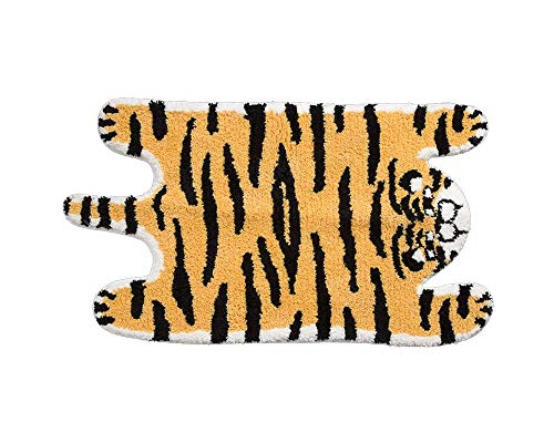 Cute Soft Tiger Shaped Animals Bath Mat Area Rug for Bedroom Bathroom Kitchen Floor Water Absorption Non-Slip Small Carpet Door Mat Kid's Room Playmat (5090CM)