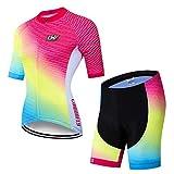 X-Labor – Conjunto de camiseta de ciclismo para mujer de secado rápido, camiseta de manga corta + pantalones de ciclismo con acolchado 3D para asiento exterior, ropa de bicicleta, diseño B 3XL