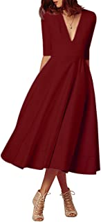 d40e81dade8 YMING Femme Robe de Cocktail Vintage Manches 1 2 Robe Col V Swing Robe Midi