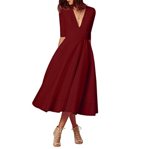 b3ced5c76c YMING Women's Cocktail Dress Elegant Deep V Neck High Waist Vintage Midi  Swing Dress