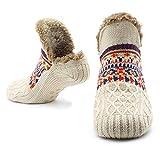 CityComfort Zapatillas mullidas Calcetines para mujeres Hombres Calor con calcetines Calcetines tejidos Lana Sherpa Fuzzy Bed Zapatillas Tamaño 5-8 antideslizante (Crema)