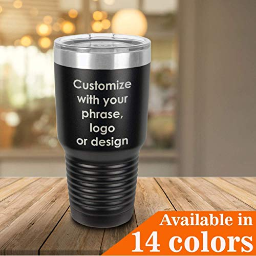 Personalized 30 oz Tumbler With Straw and Slide Top Lid | Custom Phrase, Quote, Logo, Bible Verse or Design | Insulated Drink Cup | Compare Price To Yeti Rambler