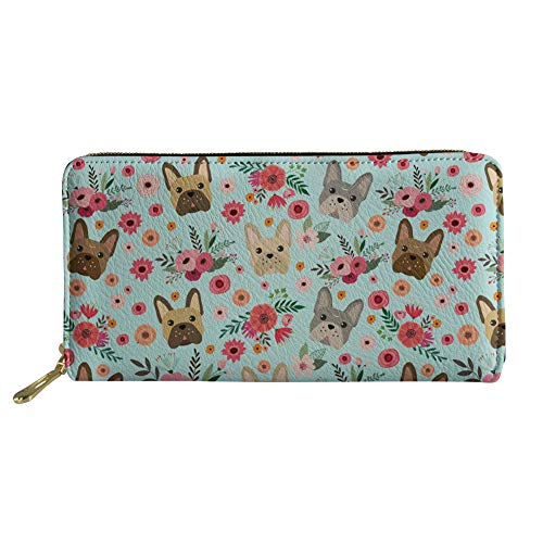 UNICEU French Bulldog Flower Print Long Wallet PU Leather Coin Purse Clutch Cell Phone Case Zip Around