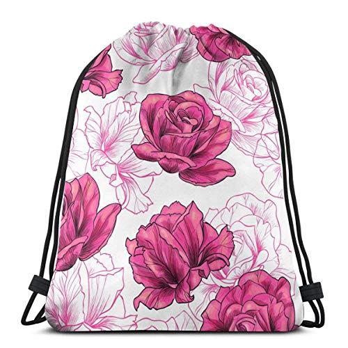 Bingyingne Romantico rosa disegnato a mano con coulisse zaino palestra sacco cinch borsa stringa borsa