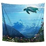 Lucid Eye Studios Aqua Turtle Tapestry- Coral Reef Wall Art- Fish Decor- Ocean Underwater Image- Surrealist Artwork- Aquarium Backdrop- 58 x 51 inches