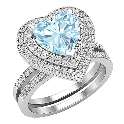 Dazzlingrock Collection Juego de anillos de compromiso de plata de ley con halo doble de 8 mm, aguamarina y diamante blanco redondo, tamaño 6
