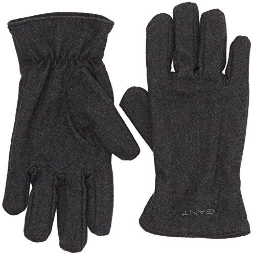 GANT Herren O. MELTON GLOVES Handschuhe, Grau (Charcoal Melange 90), Large (Herstellergröße: L-XL)