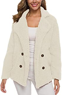 Macondoo Women Sherpa Lapel Double Breasted Sweatshirt Warm Coat Jacket