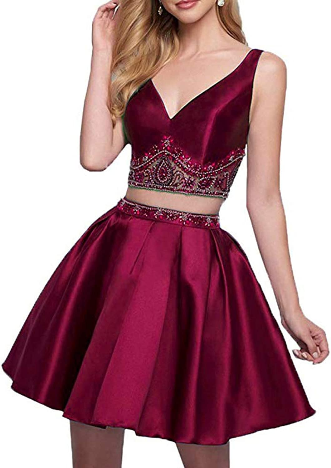 HerDress Women's Two Piece Beaded Homecoming Dresses 2018 Short Satin ALine VNeck Prom Dresses Cocktail Ball Gowns