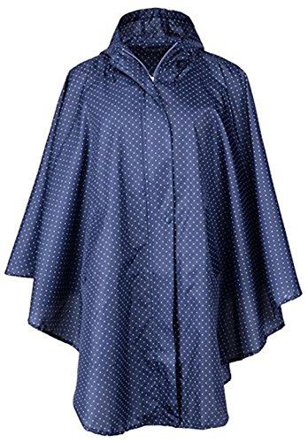 Qianliniuinc Mit Kapuze Regenmantel Regenbekleidung Frauen Breathable Ultralight Winddicht Regen Poncho Wind Mantel im Freien tragbare Regenjacke Blaue Punkte