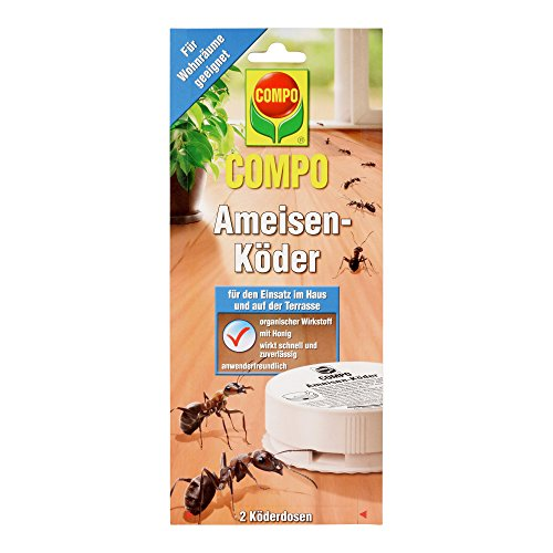 COMPO Ameisen-Köder, Bekämpfung von Ameisen im Wohn-, Essbereich und Terrasse, 2 Köderdosen