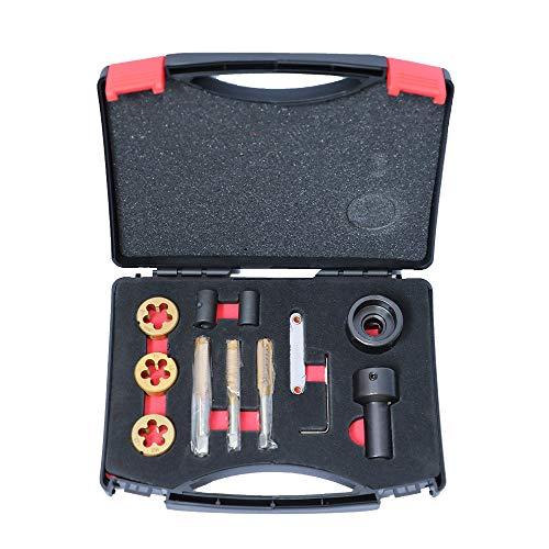 MR CARTOOL 12pcs Tap and Die Set for Wheel Studs & Nuts M12x 1.25 M12 x 1.5 M14x1.5 Thread Repair Tool Kit
