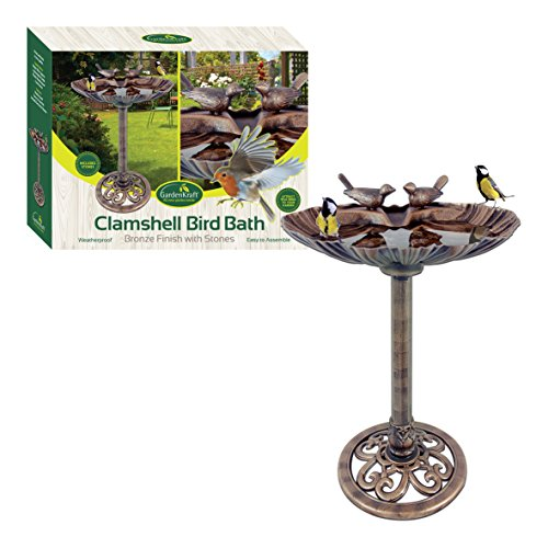 GardenKraft 23940 Clam Shell Design Bird Bath with Stones | Bronze Metal Effect | Weatherproof Garden Feature | 80cm x 36cm