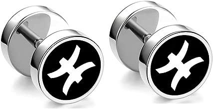 Xusamss Hip Hop Stainless Steel Twelve Constellations Pattern Stud Earrings