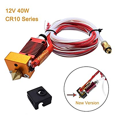 Extruder Original 3D Printer Assembled MK8 Hot End Sprinkler Kit for Creality CR10 hotend,CR-10S,CR-10S4,CR-10S5,1.75mm filament 0.4mm nozzle 12V 40W heating NTC thermistor