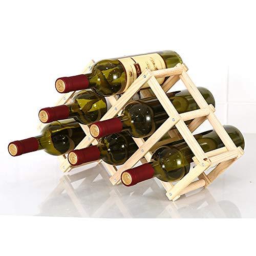 Estante de almacenamiento de vino plegable de pie y encimera para vino, estante organizador de mesa (6 botellas)